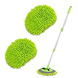 2 in 1 Chenille Microfiber Car Wash Brush Mop Mitt with 45' Aluminum Alloy Long Handle, Car Cleaning Kit Brush Duster, Not Hurt Paint Scratch Free Cleaning Tool Dust Collector Supply for Washing Truck