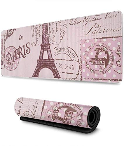 Pink Paris Gaming Mouse Pad XL,Extended Large Mouse Mat Desk Pad, Stitched Edges Mousepad,Long Non-Slip Rubber Base Mice Pad,31.5X11.8 Inch