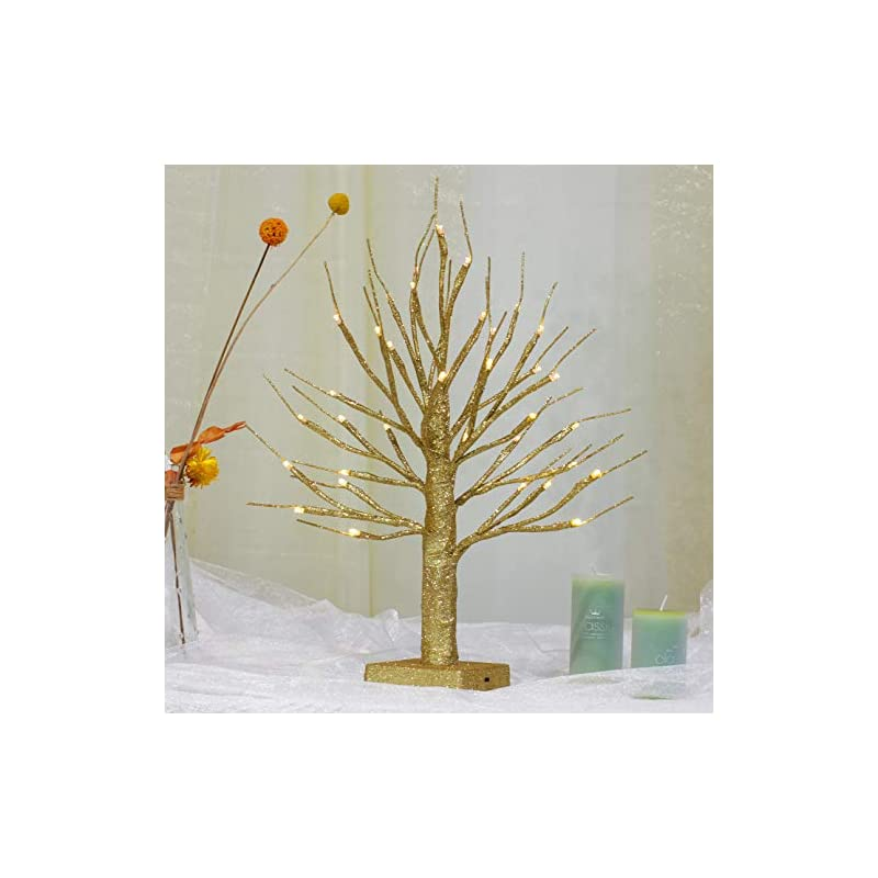 """silk flower arrangements brightdeco lighted gold glitter birch tree 18"""" h 36 led artificial bonsai lamp money tree for indoor use great décor for home bedroom halloween thanksgiving christmas easter wedding party warm white"""