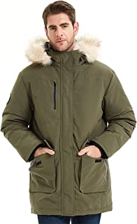 Men's outdoor ski thick down jacket, waterproof zipper closure, fur trim decorated hooded parka, Relaxed Fit coat
