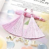 5ピース/セット80mmロングミックスカラーシルクタッセルイヤリングチャームペンダントサテンタッセル女性DIYジュエリー liuhaiweiribeng (Color : ピンク)