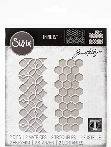 Sizzix Thinlits Die Set 2 Pack Pattern Repeat by Tim Holtz, Multicolor