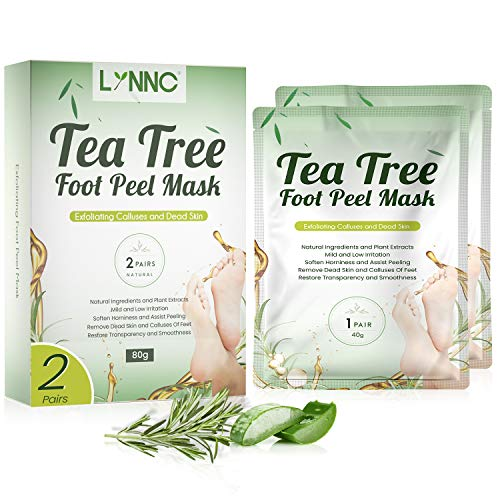 Tea Tree Oil Foot Peel Mask, LYNNC Exfoliating Callus Remover, Exfoliant for Cracked Heels, Removes & Repairs Rough Heels in 1-2 Weeks, Smoothness Restoring and Natural Dead Skin Peeling Treatment