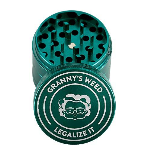 Granny's Premium Aluminium Grinder | Feines Mahlwerk | 4-teilig | inkl. Pollenschieber | In Grün u. weiteren edlen Designs | ∅ 5,5 cm
