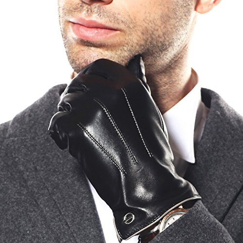 Elma Men's Touchscreen Texting Winter Italian Nappa Leather Gloves Cashmere Lining (8, Black)