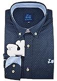 Ridebike Camisa Azul Marino con topitos Blancos Vespa | Custom fit | Diseño del puño a Juego con el Cuello (M)