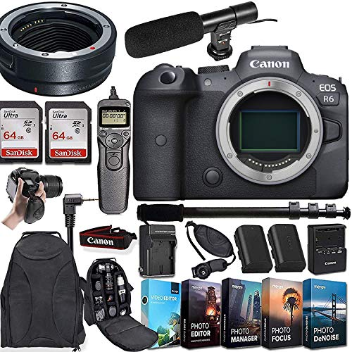 CanonEOS R6 Mirrorless Digital Camera (Body Only) and Mount Adapter EF-EOS R Bundle + Deluxe Accessories Kit