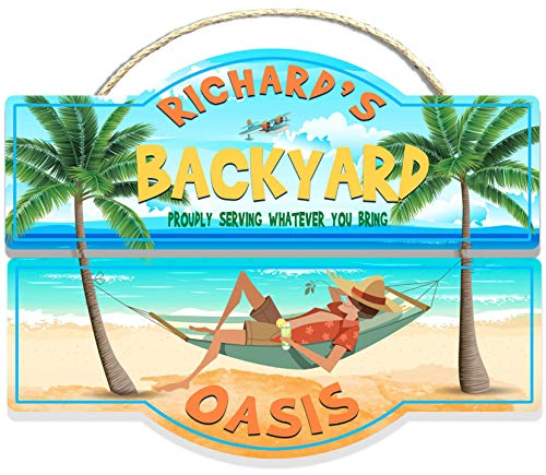 Backyard Oasis Personalized Sign from Redeye Laserworks