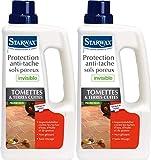 STARWAX Protection Anti-tache Invisible Sols Poreux pour Tomettes et Terres Cuites - 1L - Idéale pour Protéger les Sols Poreux, lot de 2