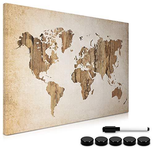Navaris Memo Board Lavagna Magnetica 40x60cm - Lavagnetta Scrivibile Cancellabile con 1x Pennarello e 5X Calamite - Bacheca Design World Map