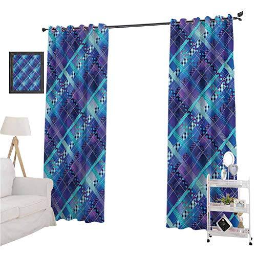 "Navy Blue Decor besthomefashionthermalinsulatedblackoutcurtains Complex Structured Different Lines And Patterns Polka Dots Tiles Stripes Patch Work Home Darkening Curtains W108"" x L84"" Purple B"