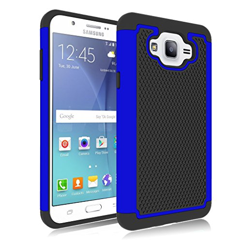 Galaxy J7 Case, Jeylly [Shock Proof] [Blue] Dual Layer Defender Protective Scratch Absorbing Hybrid Rubber Plastic Impact Defender Rugged Hard Case Cover Shield for Samsung Galaxy J7 Released 2015
