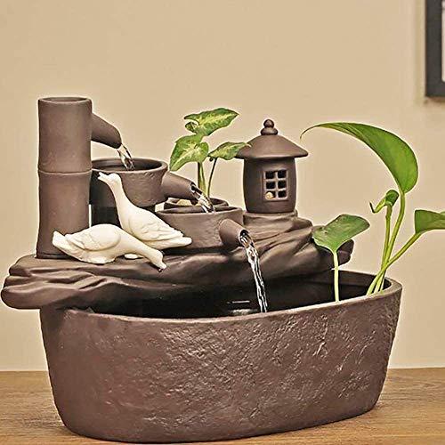 Pillowcase Fuente de bambú Jardín Fuente de cerámica Agua Paisaje Bomba de Agua Decoración de Agua Interior Estilo japonés