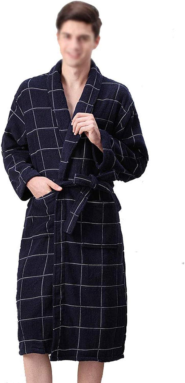 Bathrobes, Men's and Women's Unisex Robes Soft Cotton Sleepwear Couples Lattice Dressing Gown