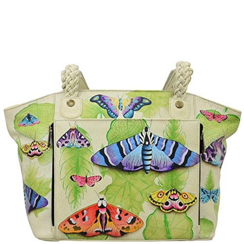 Anuschka Women's Genuine Leather Classic Work Tote|Hand Painted Exterior | Vintage Botanical