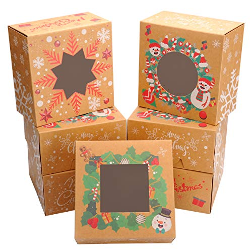 24 PACK Christmas Bakery Boxes with Window Cookie Boxes for Gift Giving 6x6x3 inch by NPLUX (Brown)