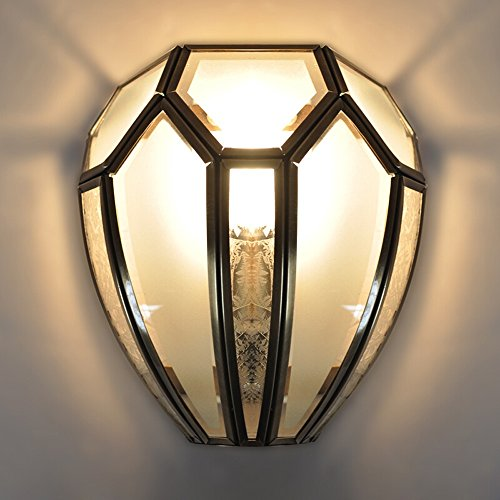 ZCCLCH Lámpara de Pared de Cobre Creativa Impermeable Al Aire Libre Aplique de Pared Luz Americana Antigua Casa de Campo Rústico Iluminación E27 Villa Jardín Porche Entrada de Parque Iluminación Decor