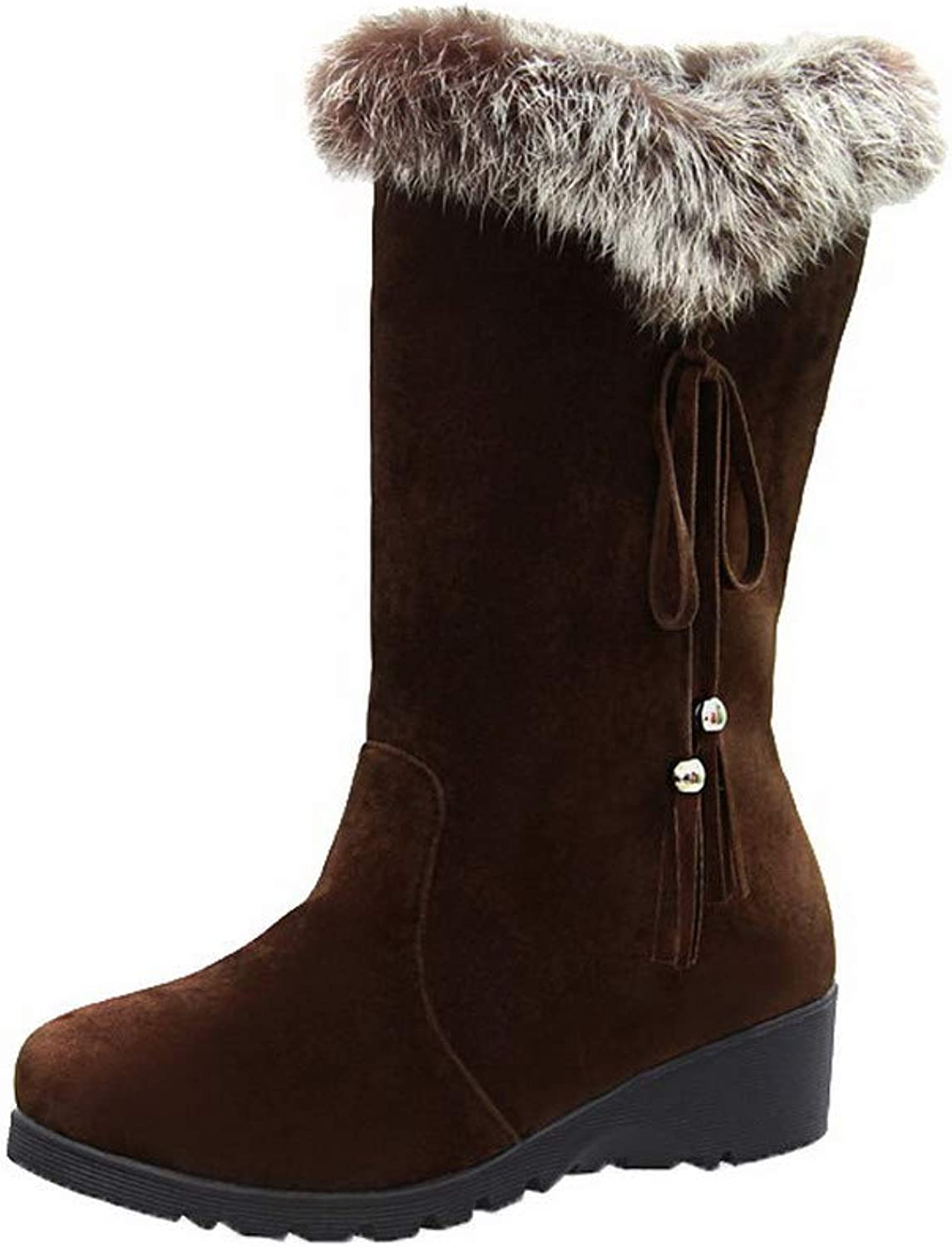 AmoonyFashion Women's Low-Heels Assorted color Round-Toe Frosted Pull-On Boots, BUSXT124576