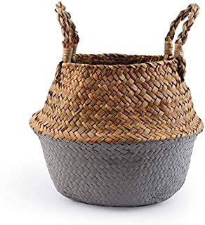 LCM Panier de Stockage du Ventre Seagrass Panier de Paille Écrire en Osier Panier Sac de Rangement Blanc Garden Flower Pot...