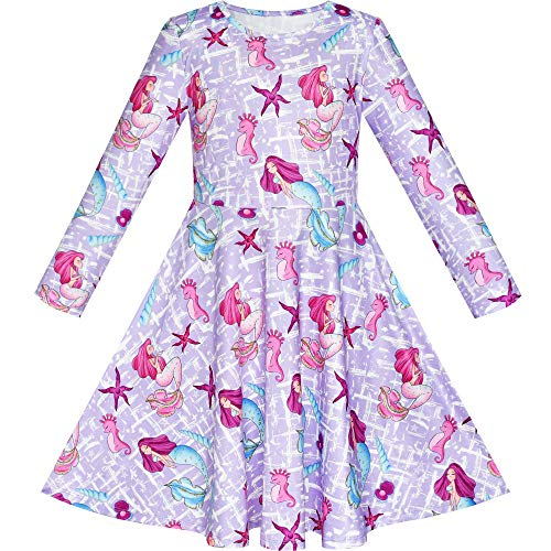 Girls Dress Mermaid Sea Star Shell Long Sleeve Casual Dress Size 8