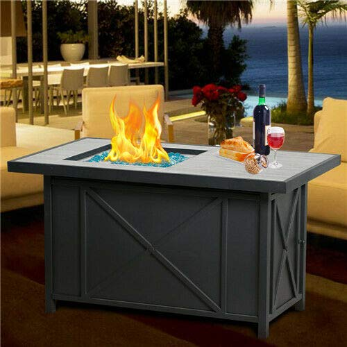 ana1store LPG Burner Drinking Ceramic Bar Dark Sturdy Metal Body 60,000 BTU 42' Oblong Table Top Stunning Flames Blue Glass Propane Gas Fire Pit Covers Pits Outdoor Fireplaces Tile Rectangular
