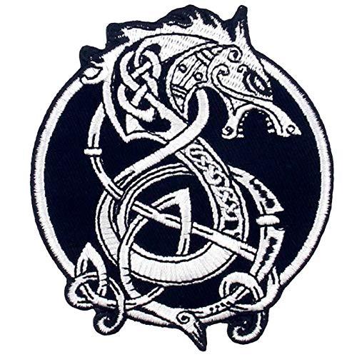 バイキングベルセルク北欧神話の北欧モンスターウルフ刺繍のバッジのアイロン付けまたは縫い付けるワッペン
