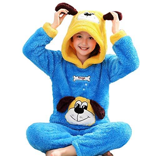 NOSSON Pyjamas Dick Winter Mädchen Pyjamas Welpenmuster Kapuzen Kinder Pyjamas...