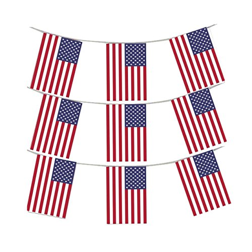 GrassVillage MEGA VALUE 3 x Packs 36 Foot 33 Flags Quality USA America Flag Bunting Party Decoration Banner 4th July US Independence Day Bunting