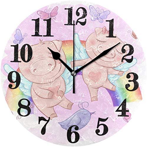 Maiali Simpáticos dibujos animados clásicos reloj de pared redondo Arcobaleno reloj de pulsera de cuarzo a batería no tictante