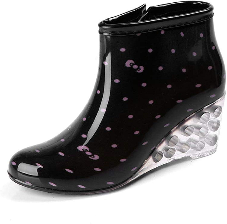 Fancyww Woman's Wedge Fashion rain Boots