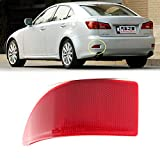Clidr Red Lens Bumper Reflector Lights for Lexus IS250 IS300 IS350 GSE20 2006 - 2013 Rear Tail Brake Light without Bulb OE-Spec LH RH Assembly Driver Side (Left)