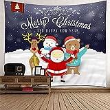 KnBoB Tapiz Pared Decorativo Santa y Ciervos I Wish You a Merry...