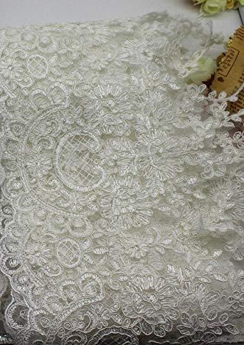 Astonish YACKALASI 5 Yards/Los Brautspitze 3D Hochzeit Spitzen Blumen-Stickerei-Border Scallop Nähen Kleid-Partei-Kleid-Schärpen 21CM Breite: Off White
