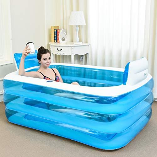 Cui shuang Verdickte Erwachsene aufblasbare Badewanne, Blaue faltende Plastikwanne, das Pool der Kinder mit Luftpumpe (Design : Foot Pump)