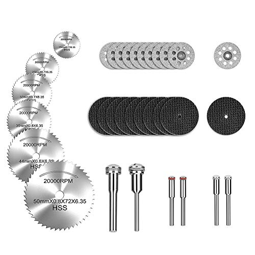 Rotary Tool Cutting Wheels Diamond Cutting Wheels and Resin Cutting Off Wheels With Mandrels, Hss Circular Saw Blades With 1/8' Shank for Wood Metal DIY Craft (32pcs)