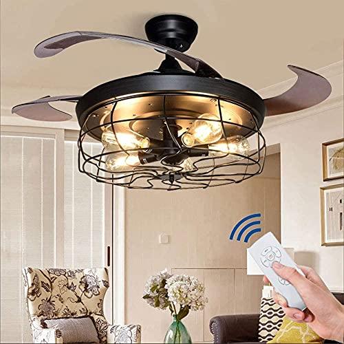 DULG Ventilador de techo LED inteligente con luz y control remoto, luz de techo industrial con temporizador, 3 cambios de color regulables, 3 velocidades ajustables, candelabro silencioso para dormito
