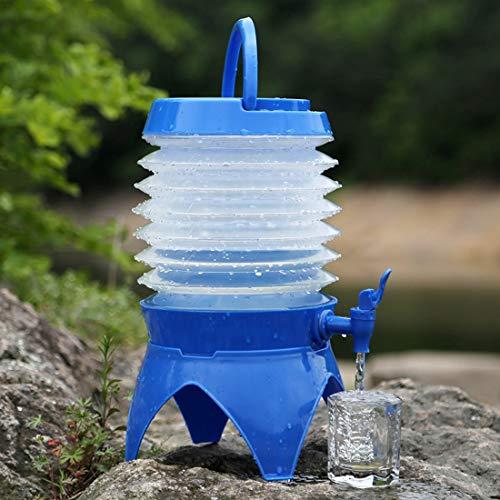 Draagbare campingcontainer multifunctionele outdoor camping telescopisch retractable bier waterreservoir emmer drinkwater buitenshuis, capaciteit: 5 l, blauw (blauw) - JSANSUI44
