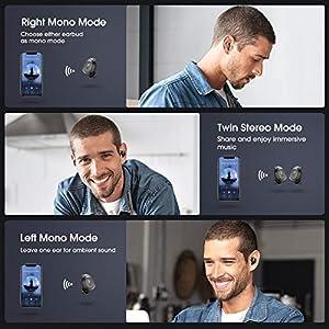 Wireless Earbuds, Mpow MDots Bluetooth Headphones w/Punchy Bass Sound, Precise Control Wireless Earphones, IPX6 Waterproof Sport Earbuds, 20 Hrs w/Twin&Mono Mode/Mics, Black