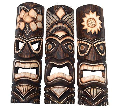 Interlifestyle 3 Tiki Wandmasken 50cm Wandmaske Tiki Maske Hawaii Holzmaske Masken Holzmaske