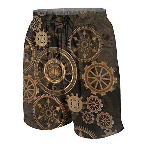 Alvaradod Traje de baño Personalizado para Hombre,Steampunk Steam Punk Gears Reloj Tecnología de Oro Abstracto Siglo de Bronce Vintage,Ropa de Playa Trajes de baño Shorts de baño Trajes de baño M