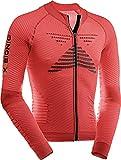 X-Bionic Biking Effektor Power Ow Lg_Sl.Full Zip, Maglia Bicicletta Uomo, Rosso/Nero, L