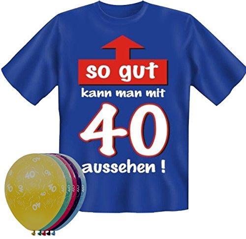 T-Shirt Fun Shirt So gut kann man mit 40 aussehen Größe XXL zum 40. Geburtstag + 5 Luftballons, lustige Geschenke