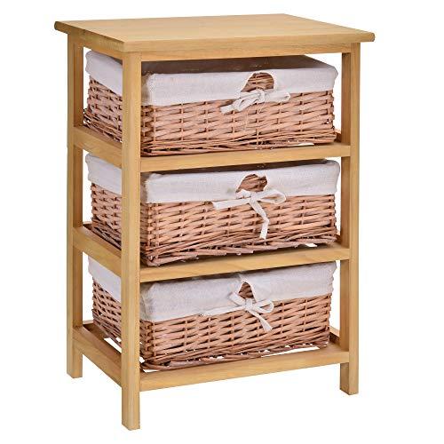 HOMCOM 3 Drawer Dresser Wicker Basket Storage Shelf Unit Wooden Frame Home Organisation Cabinet Bedroom Office Furniture Natural Finish 58x40cm