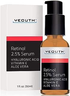 Retinol Sérum 2,5% con ácido hialurónico, aloe vera, vitamina E - reduce las arrugas -1 fl oz