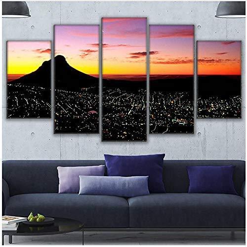 FCXBQ Wandkunst Bilder Wohnkultur Moderne Hd Drucke 5 Stücke Kapstadt Sonnenuntergang Gemälde Berglandschaft Leinwand Poster