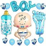 JKJF Boy Party Set de decoración gigante para niños y bebés, globos con forma de botella y pies del alfabeto, globos con texto 'It's a Boy' y confeti, globos para nacimiento, fiesta de cumpleaños