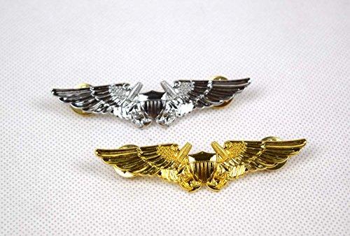 2pcs US Army Military Command Pilot Metal Wings Metal Badge Pin Silver Gold