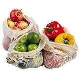 ECENCE Set de 3 Bolsas para Fruta y verdura Bolsas de Red de algodón...