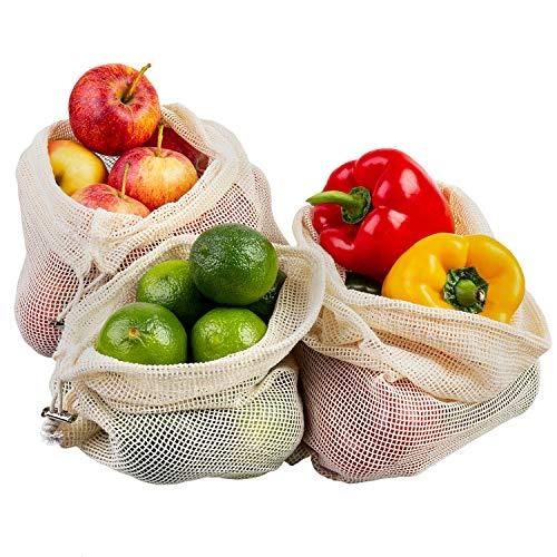 ECENCE Obst- und Gemüsebeutel, 3 Stck. in 3 Größen, wiederverwendbares Einkaufsnetz, Baumwollnetz, plastikfreier Brotbeutel, waschbar 13020104