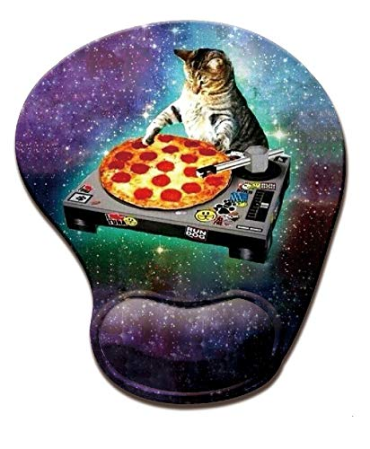 Funy Cat Pizza Space Mousepad Memory Foam Mouse pad with Wrist Support Customized Personality Unique Design Mouse Pad